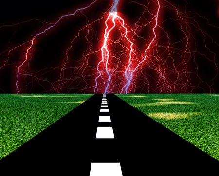 streak lightning: An image of a road with the lightning at the end of it. Stock Photo