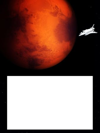 A conceptual image of spacecraft flying next to Mars,with a blank area that can act as a sign. photo