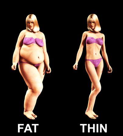 donne obese: L'immagine di una donna che è passata da essere grasso a sottile, un utile immagine circa la perdita di peso.
