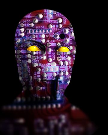 An image of an android that is made out of printed circuit bored. Stock Photo