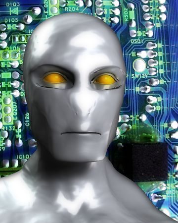 electrify: An image of an android that is made out of printed circuit bored. Stock Photo