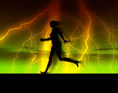 An image of a bare footed women running with some thunder and lightning in the background.