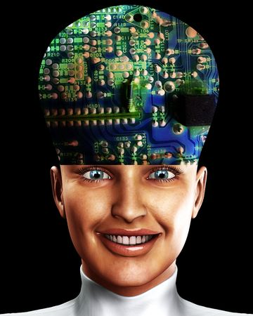 An conceptual image of a cyborg women who is very clever, we can tell this by the big head with an added circuitbored effect. photo
