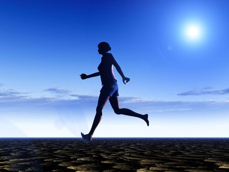 sportsperson: An image of a bare footed women running, with the sky in the background.