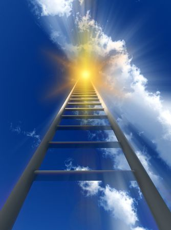 stairway to heaven: A religious conceptual image of a stepladderstairway going up to heaven. Stock Photo