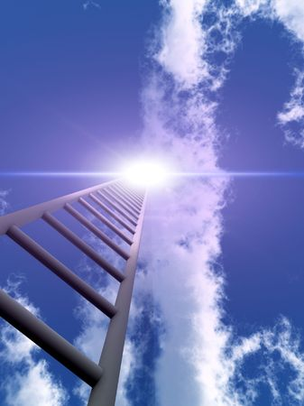 A religious conceptual image of a stepladderstairway going up to heaven. Stock Photo