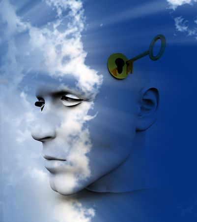 A conceptual image of a key unlocking a mans mind, good for images representing imagination and inspiration and intellect. Stock Photo
