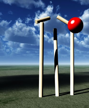 wicket: A image of a cricket ball smashing a wicket.