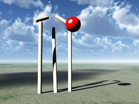 smashing: A image of a cricket ball smashing a wicket.