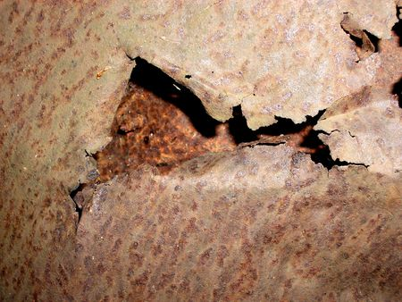 An image of some rusty metal up close that has been ripped up. photo