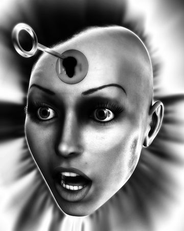 A conceptual image of a key unlocking a females mind, good for images representing imagination and inspiration and intellect. photo