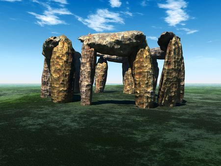 stoneage: A digital representation of Stonehenge in England.