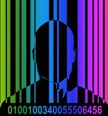 An conceptual image outline of a male with a barcode over him, could represent big brother security state concepts.