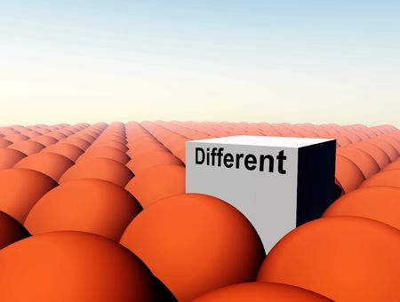 nonconformity: A Conceptual image of a square representing being a unique individual (not conforming) amongst conformity
