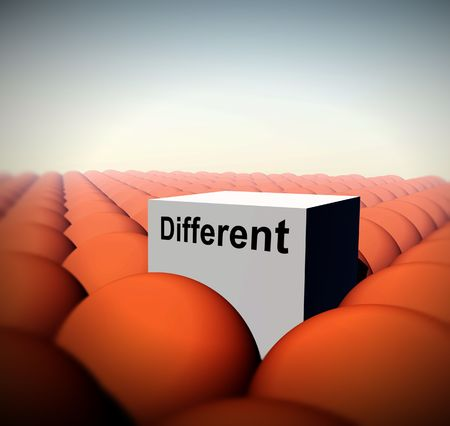 conformity: A Conceptual image of a square representing being a unique individual (not conforming) amongst conformity