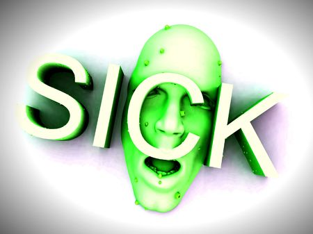 queasy: An image of a person who is sick. Stock Photo