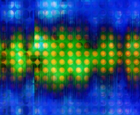 merged: A simple abstract color dot pattern background with a soundwave merged with it. Stock Photo