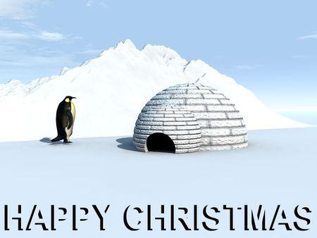 Un pingüino en un iglú a casa con una Feliz Navidad Suscribirse Foto de archivo - 1305488