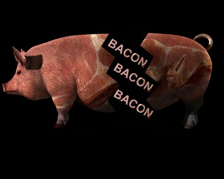 An image of a pig with a sliced bacon overlay texture on the pig. Which is in bits to represent slaughter photo