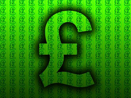 british currency: A image of a British currency pound sign,with a pound sign background pattern.