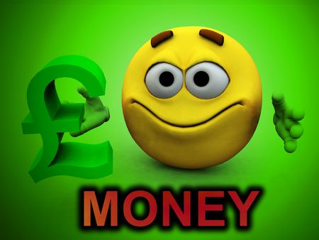 A image of a happy cartoon man with a pound sign in his hand, a good concept image for business.