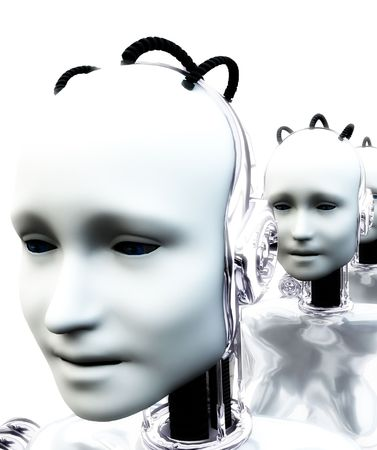 An image of a set of technologically robotic women. Stock Photo - 1353708