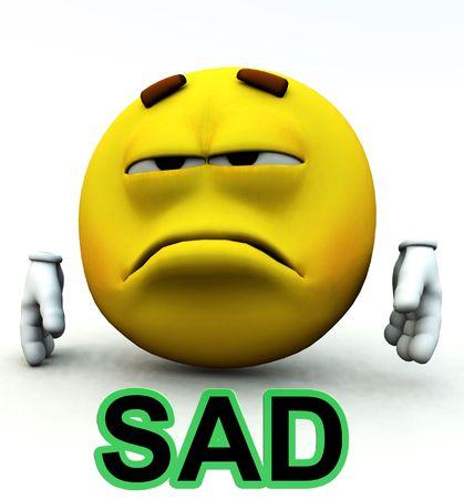 cheerless: An image of a very sad cartoon man. Stock Photo
