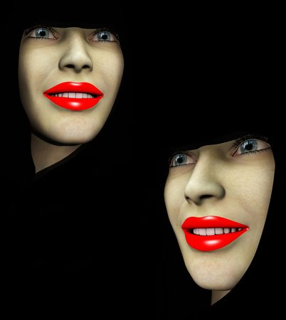 orifice: An image of a close up of two ladys heads both with red make up on their lips.
