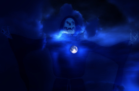 ghostlike: An image of death against a moonlight sky. Stock Photo