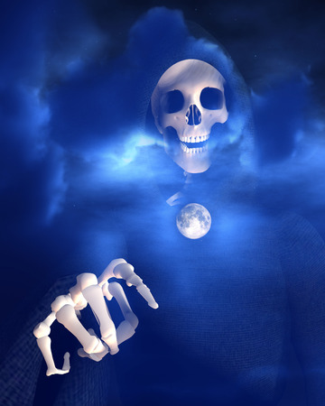 An image of death against a moonlight sky. Stock Photo