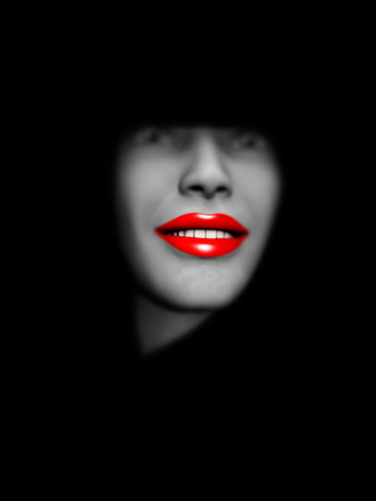 An image of a close up of a lady's head with red make up on her lips. Stock Photo - 1391594