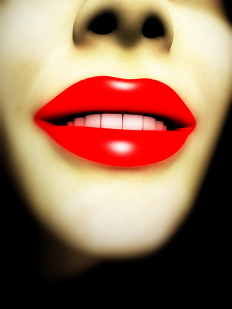 nostrils: An image of a close up of a lady with red lip makeup. Stock Photo