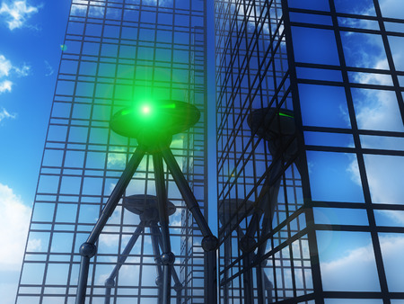 which: A alien tripod travel machine which is invading a city.