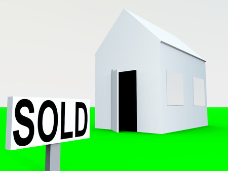 ad: An image of a simple home with a sold sign next to it, a good image for housing concepts.