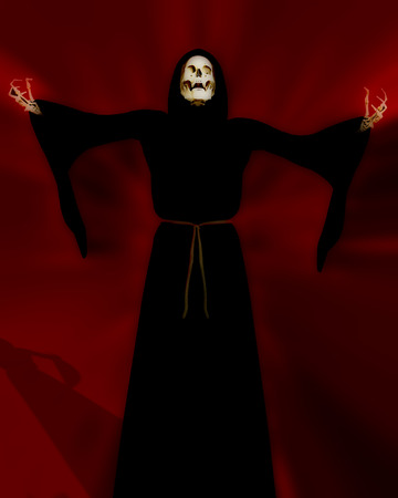 ghostlike: An image of the grim reaper or death as he is more commonly called.