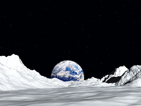 outerspace: An image of the earth from a view from the lunar mountain landscape.