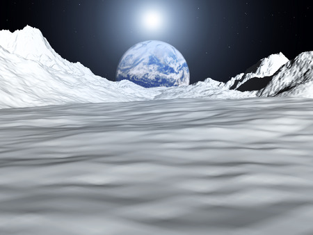 outerspace: An image of the earth from a view from the lunar mountain landscape. With added sun effect. Stock Photo