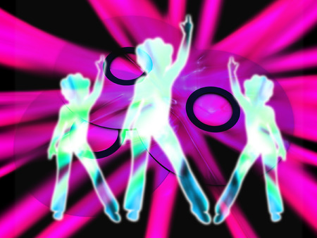 dvdr: An image of what could be some DVDs or CDs. With some women disco danceing in the foreground.
