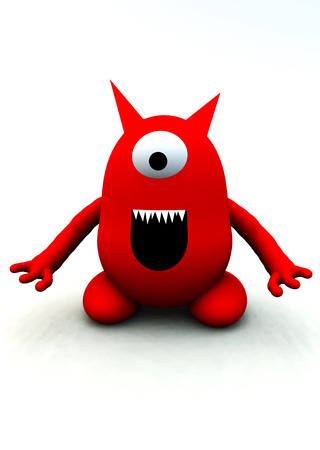 monstrous: A image of a tiny little red cartoon like monster good for Halloween images.