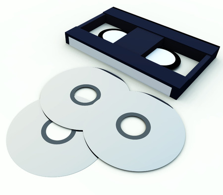 dvdr: An image of a video tape and a DVDCD, showing both old and new media technologies.