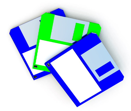 labelling: An image of an old style floppy discs with a blank label on them which you can put your own information on. Stock Photo