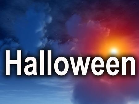 nightime: Un'immagine di alcune nubi notte di Halloween con la parola in primo piano.