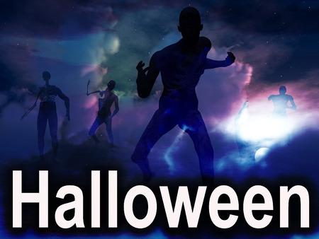 nightime: Un'immagine di alcuni zombie con alcuni nightime nuvole dietro di loro, con la parola Halloween in primo piano Archivio Fotografico