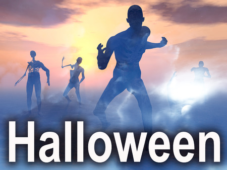 nightime: An image of some zombies with some nightime clouds behind them, with the word Halloween in the foreground