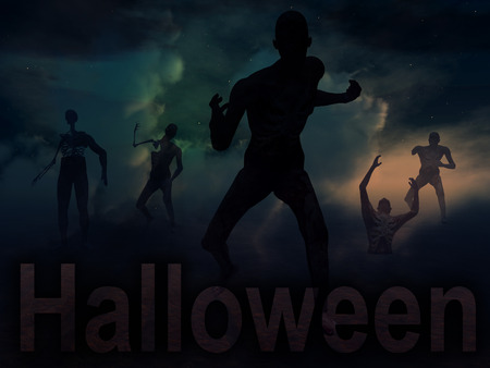 An image of some zombies with some nightime clouds behind them, with the word Halloween in the foreground