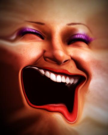 distort: Una imagen conceptual de un feliz femenino rostro humano que ha sido distorsionada.  Foto de archivo
