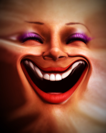 that: An conceptual image of a happy female human face that has been distorted.