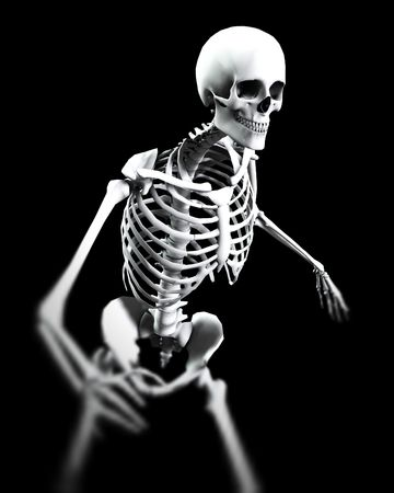 적합: An x ray image of a Skelton in a pose a suitable image for medical or  based concepts.