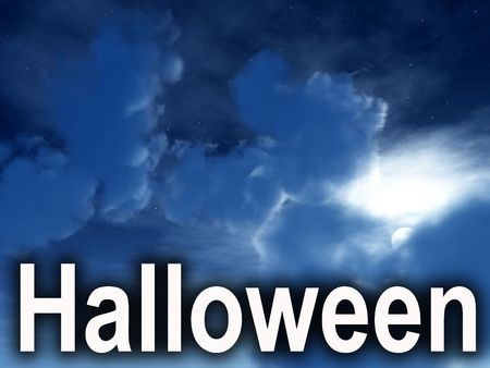 nightime: An image of some nightime clouds with the word Halloween in the foreground.