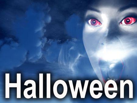 nightime: L'immagine di alcune nuvole notturna con la parola Halloween in primo piano. Con l'aggiunta di occhi Spooky vampiro.